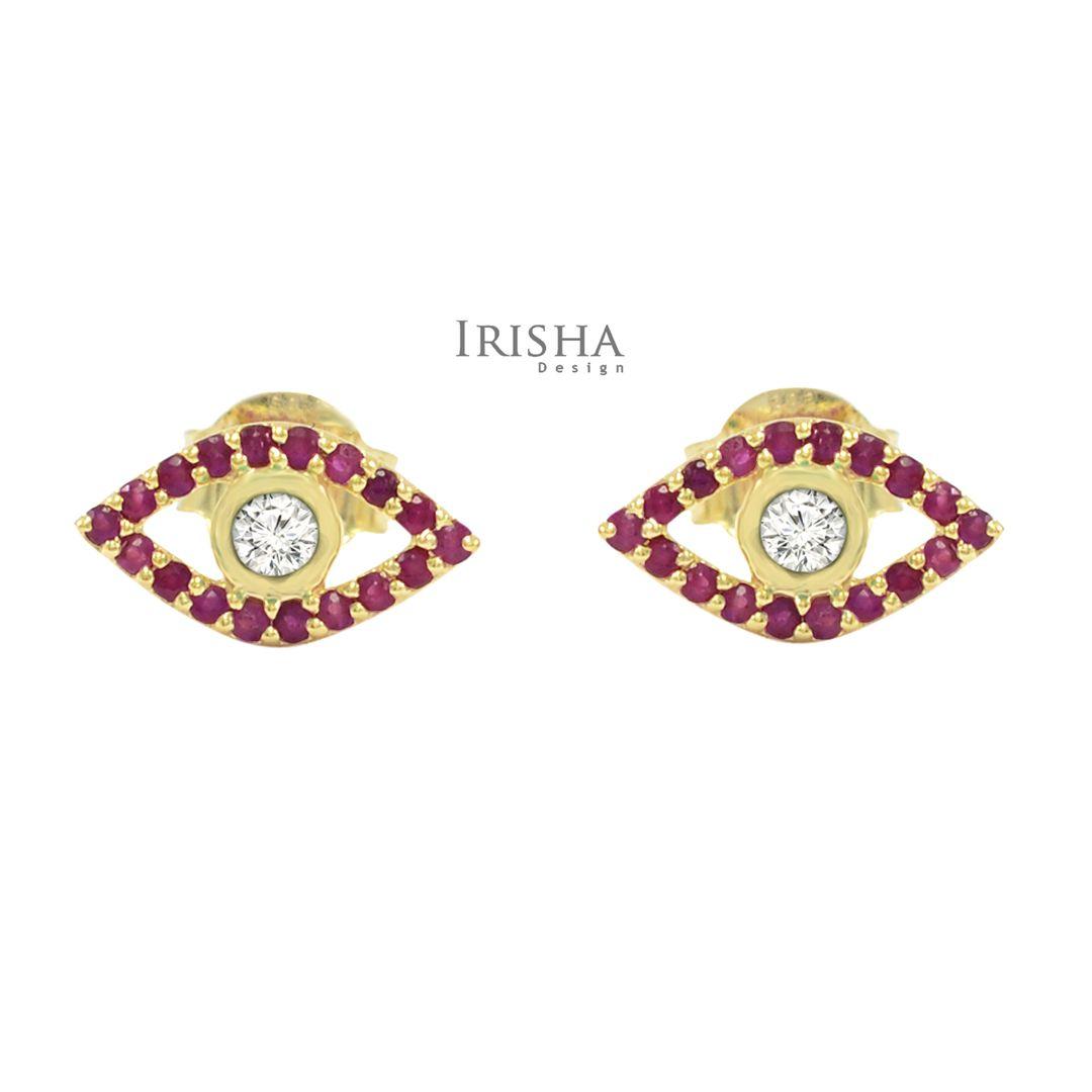 14K Gold Genuine Diamond And Ruby Gemstone Evil Eye Studs Earrings Fine Jewelry