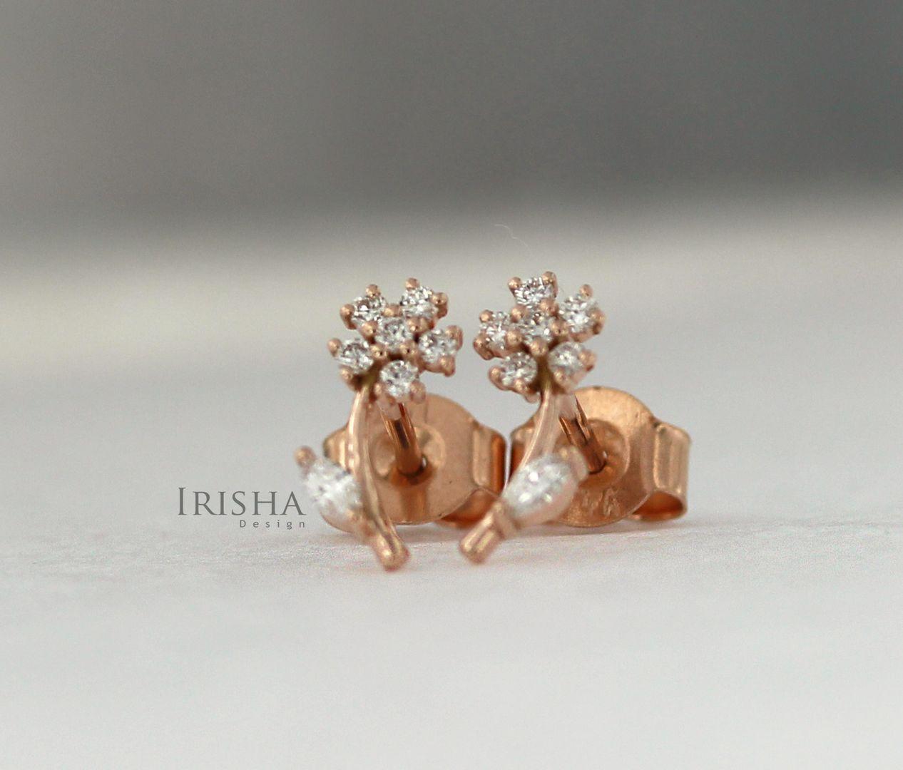 14K Gold 0.20 Ct. Genuine Diamond Leaf Floral Design Studs Earrings Fine Jewelry