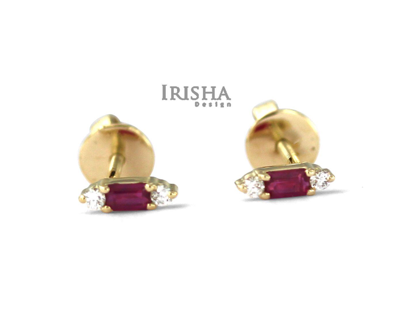 14K Gold Genuine Diamond And Baguette Ruby Gemstone Studs Earrings Fine Jewelry