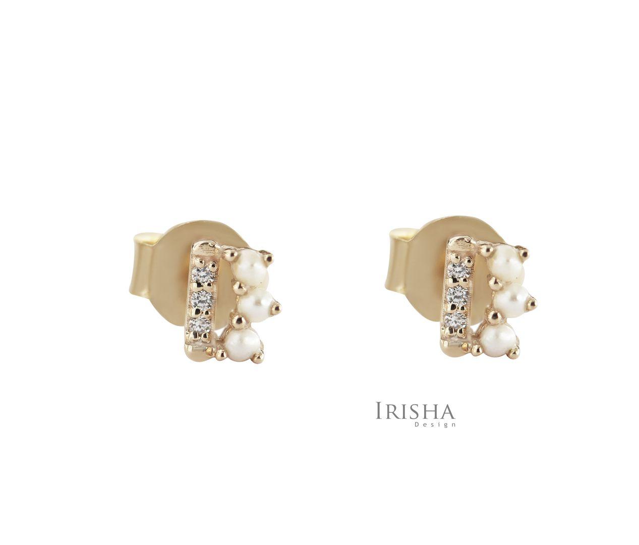 14K Gold Genuine Diamond And Freshwater Pearl Tiny Bar Stud Earrings Jewelry