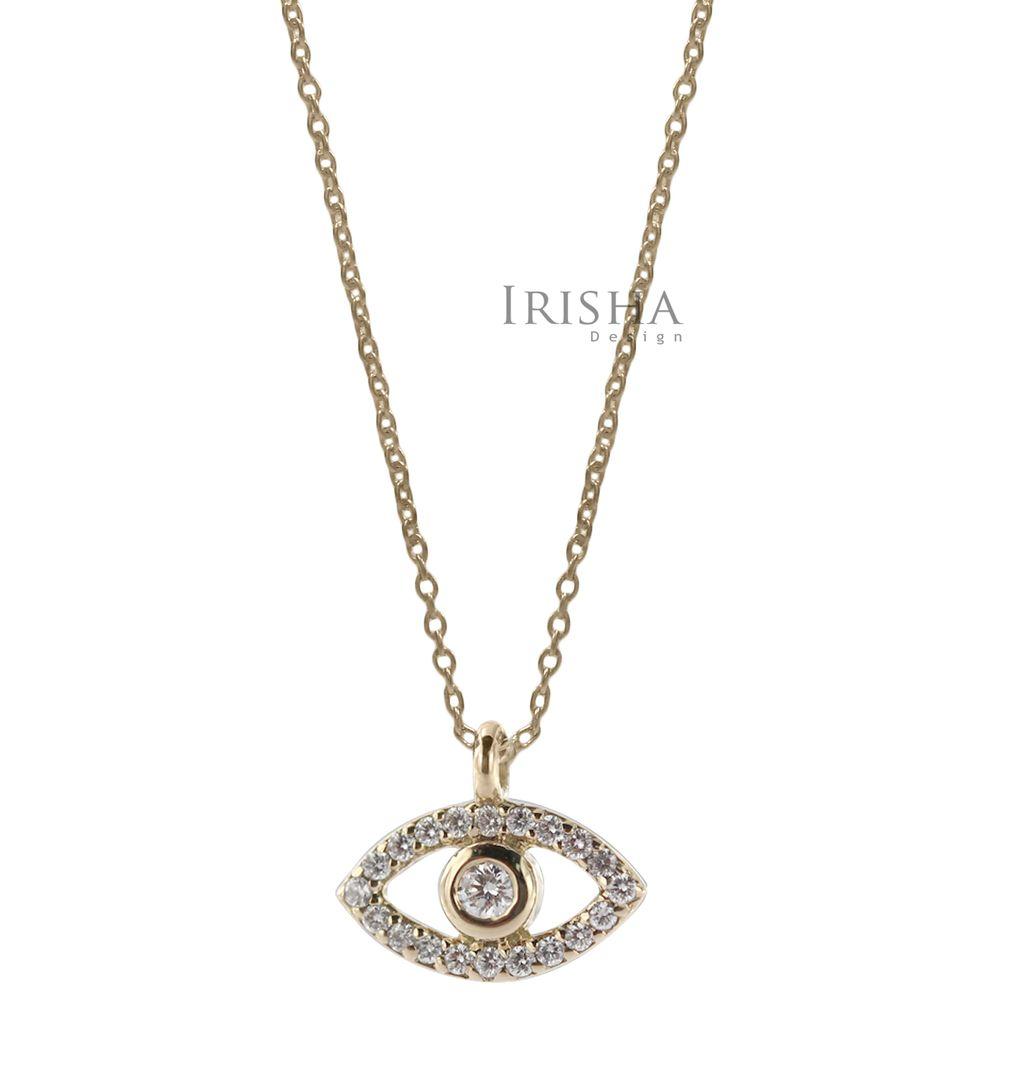 14K Gold 0.11 Ct. Genuine Diamond Evil Eye Charm Pendant Necklace Fine Jewelry