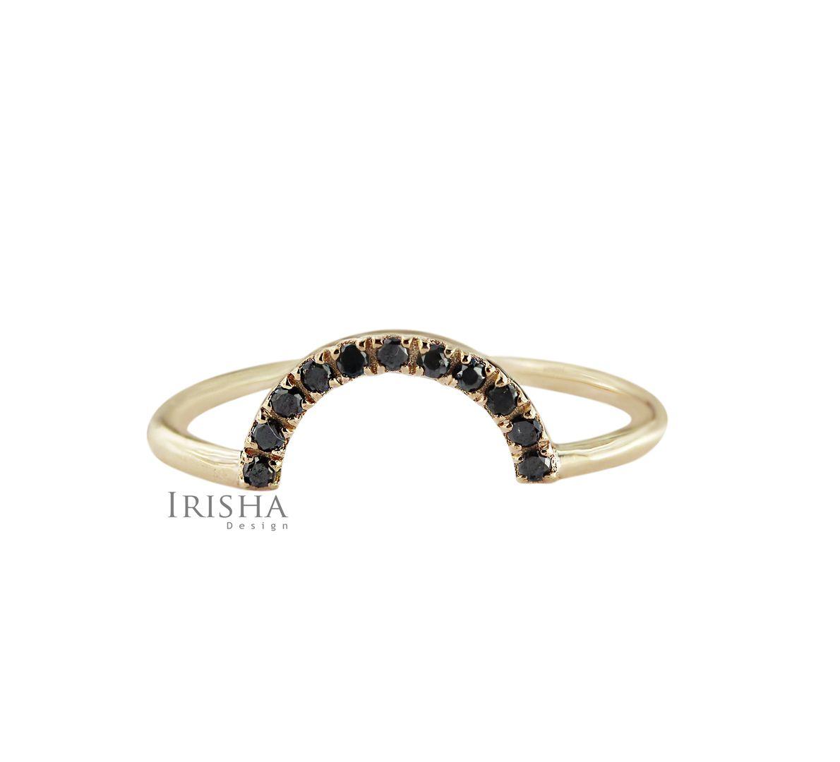 14K Gold 0.08 Ct. Genuine Black Diamond Half Moon Design Ring Fine Jewelry