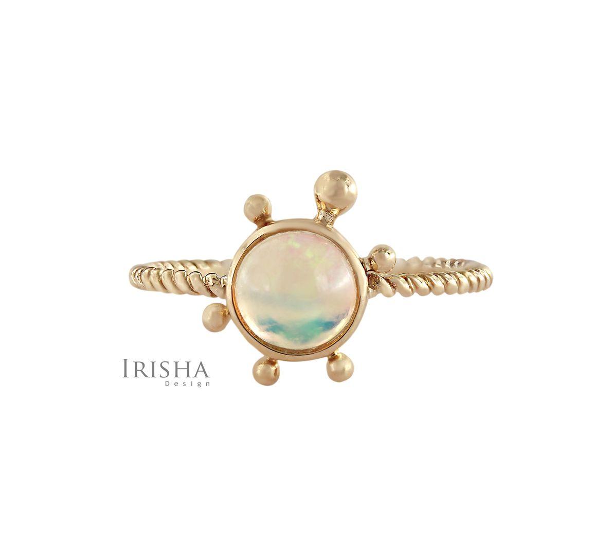 14K Gold 0.50 Ct. Genuine Opal Gemstone Turtle Design Twisted Ring Fine Jewelry
