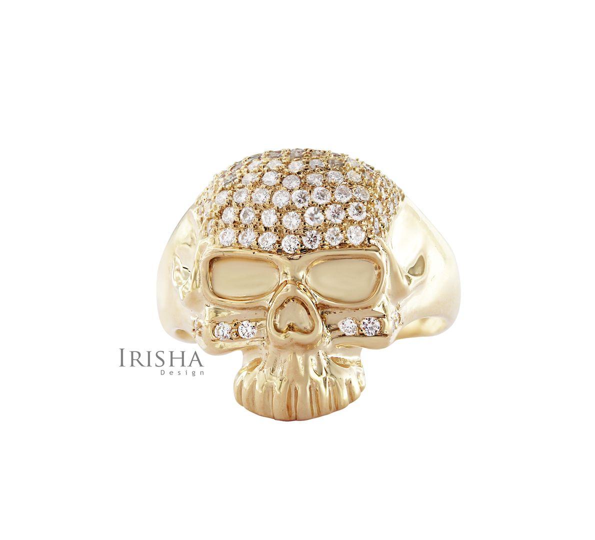 14K Gold 1.00 Ct. Genuine Diamond Big Skull Design Halloween Ring Fine Jewelry