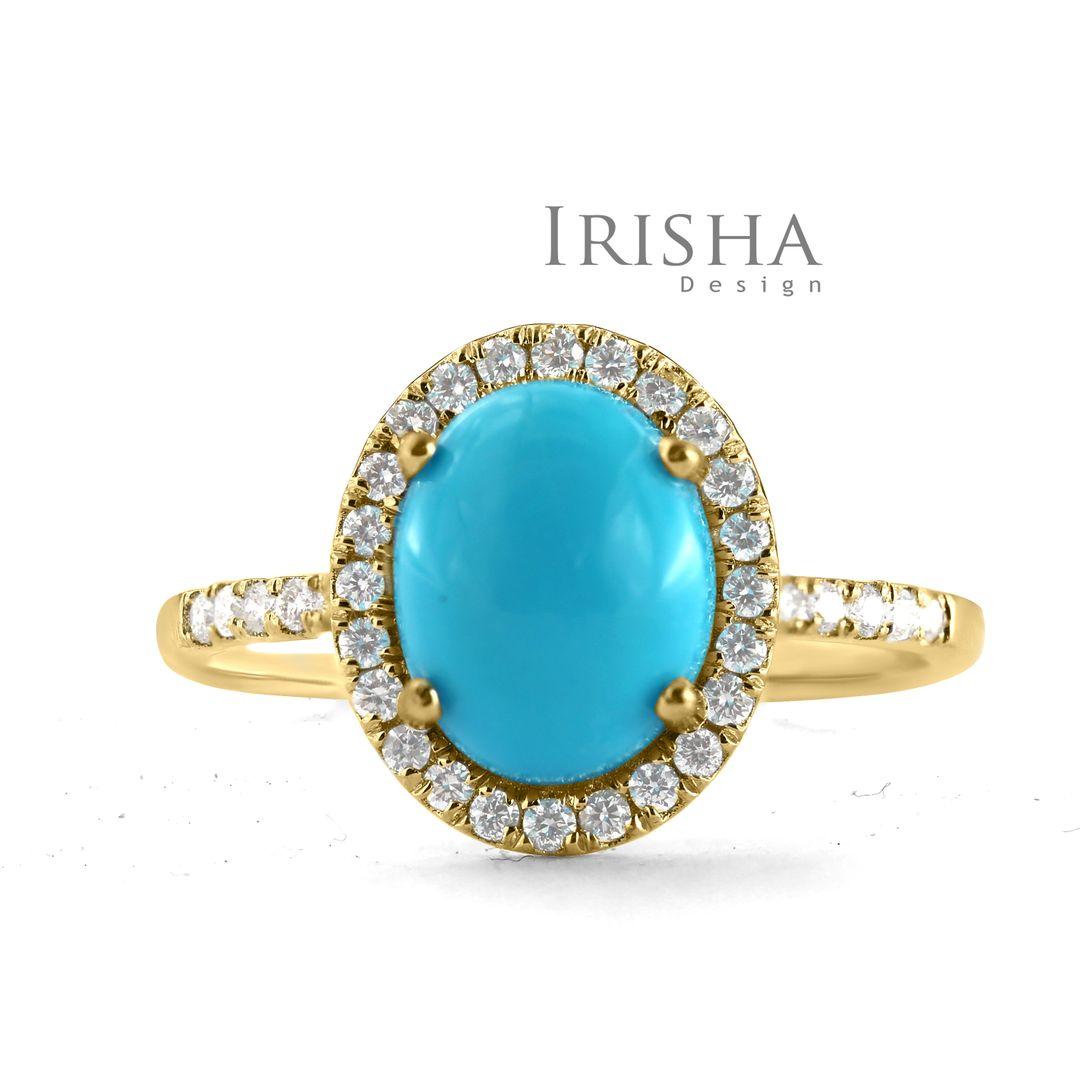 14K Gold Genuine Diamond And Turquoise Gemstone Wedding Halo Ring Fine Jewelry