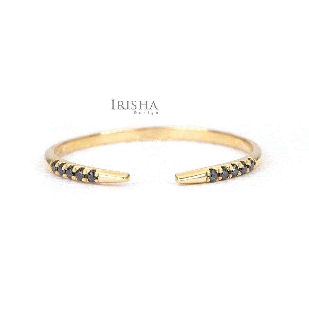 14K Gold 0.07 Ct. Genuine Black Diamond Open Cuff Wedding Ring Fine Jewelry