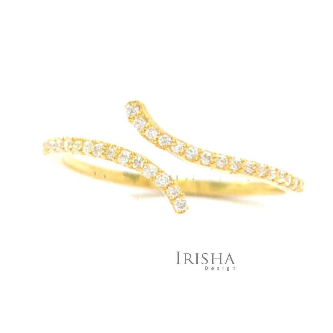 14K Gold 0.16 Ct. Genuine Diamond Wrap Cuff Open Ring Fine Jewelry Size-3 to 9US