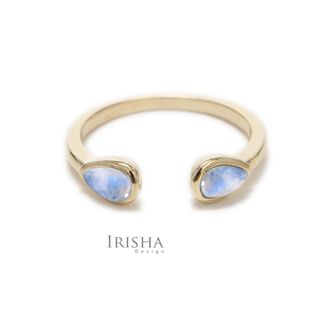 14K Gold Genuine Pear Shape Rainbow Moonstone Open Cuff Ring Fine Jewelry