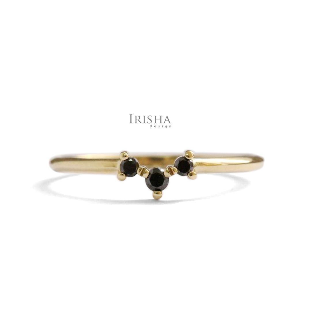 14K Gold 0.05 Ct. Genuine Black Diamond Stacking Ring Fine Jewelry Size-3 to 8US