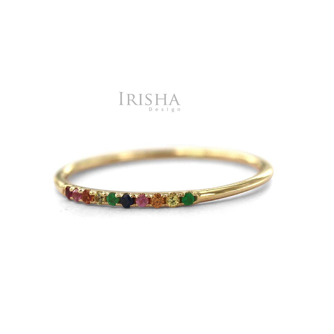 14K Gold 0.05 Ct. Genuine Multi Sapphire Gemstone Rainbow Ring Fine Jewelry