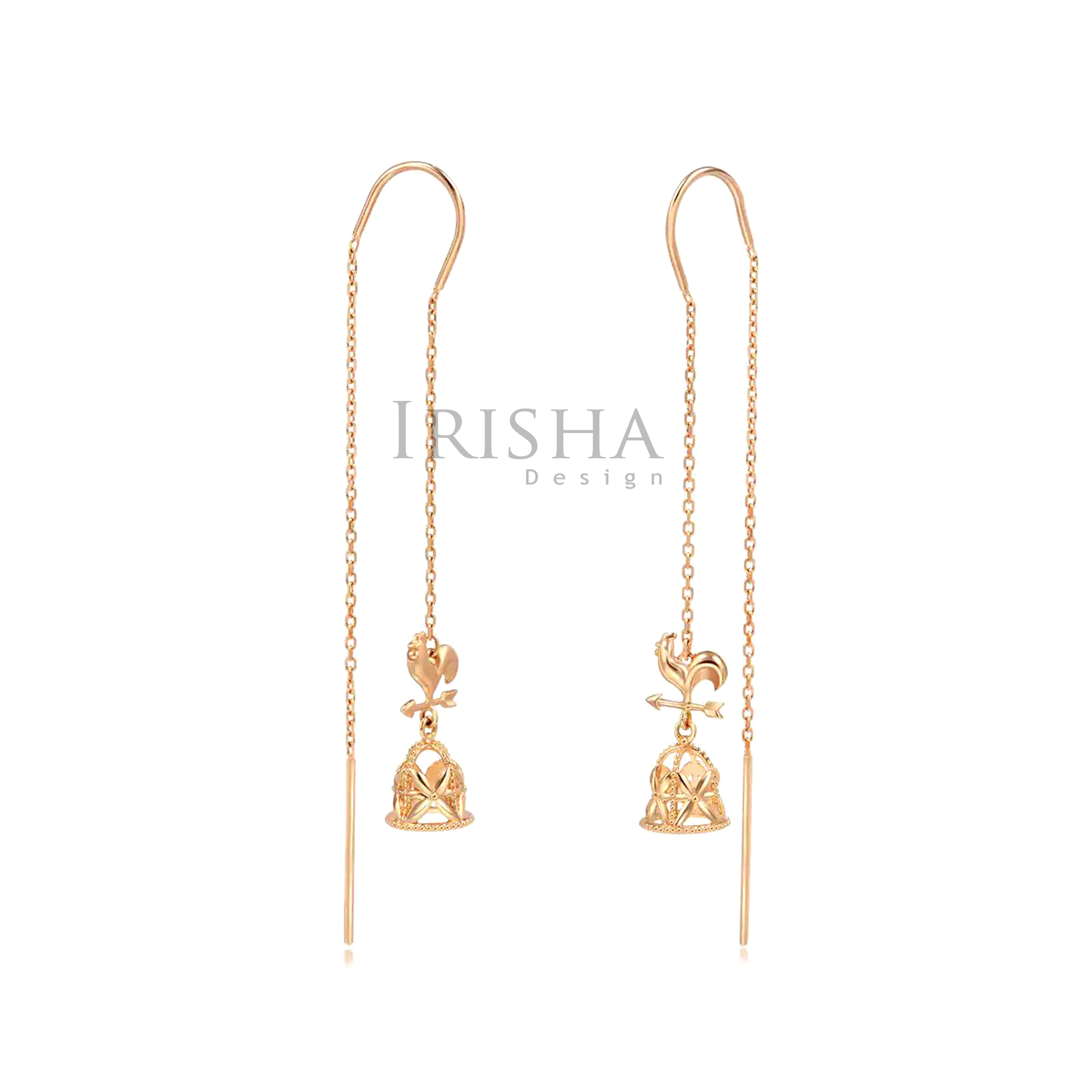 14K Solid Gold Rooster And Church Bell Design Threader Earrings Fine Jewelry