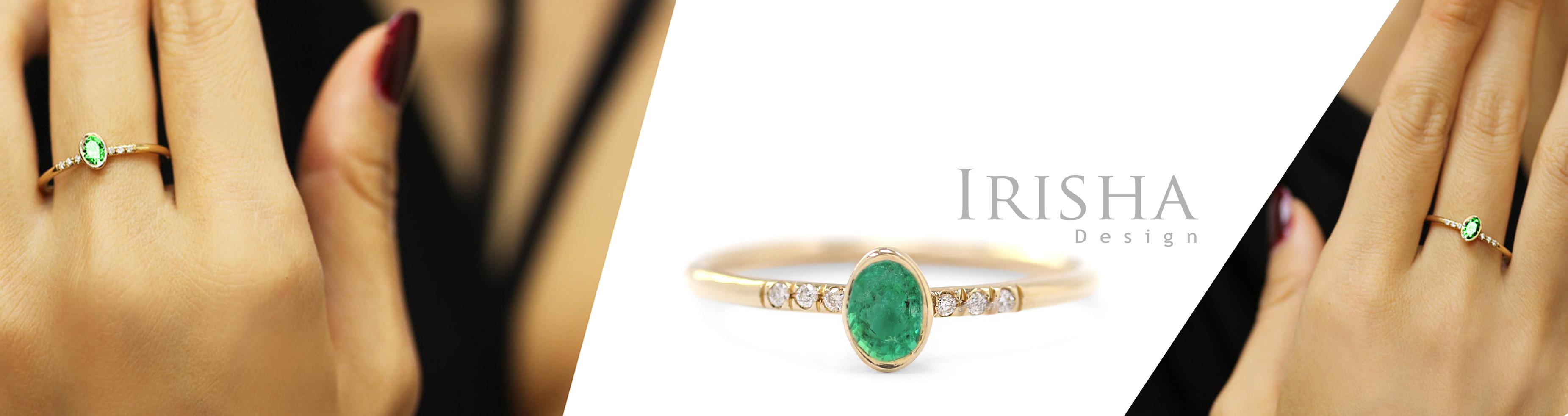 14K Gold Genuine Diamond And 0.50 Ct. Emerald Gemstone Wedding Ring Fine Jewelry