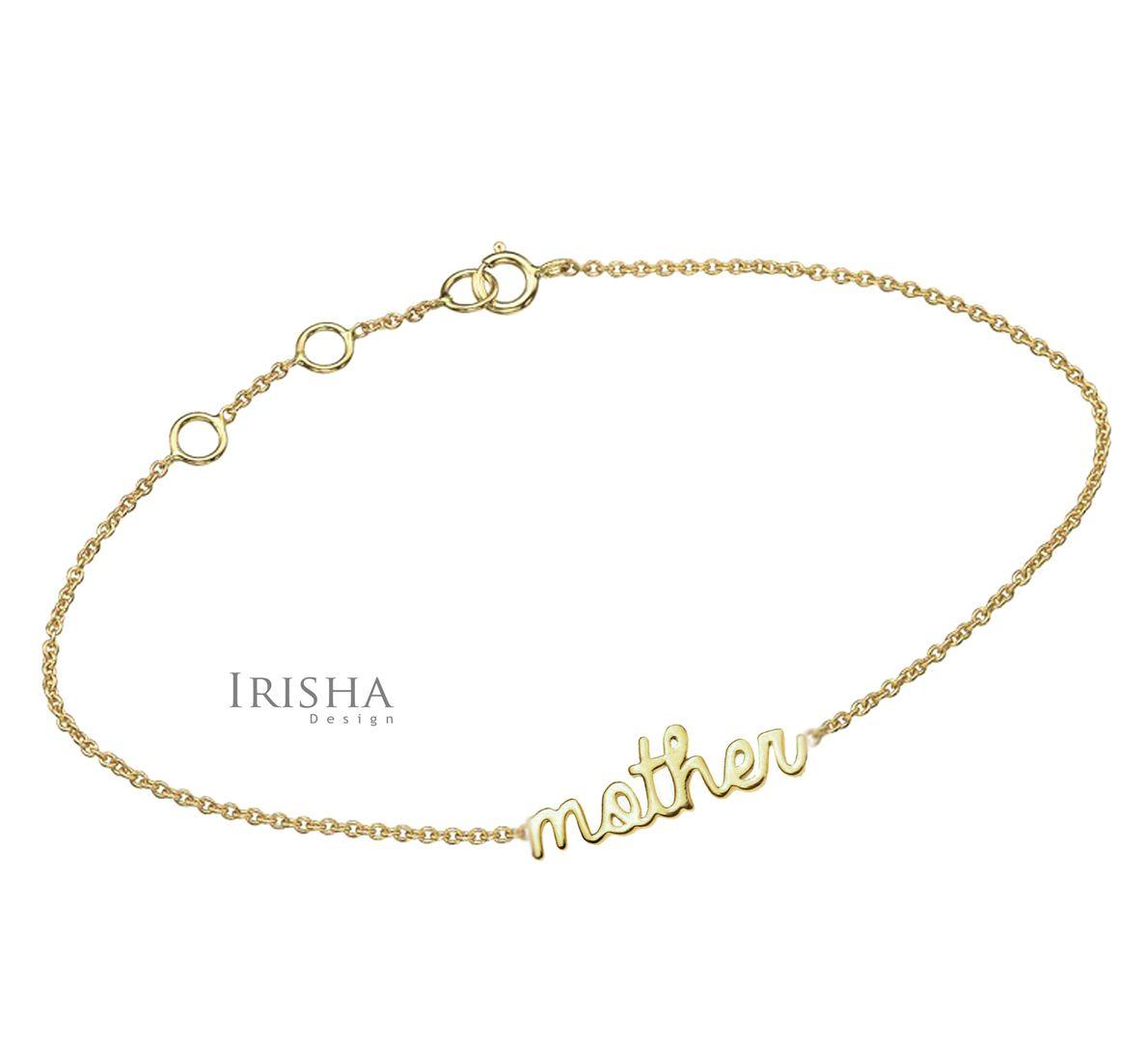 Mother Daughter Signature Bracelet Set Best Gift in 14K Solid Gold (2 pcs)