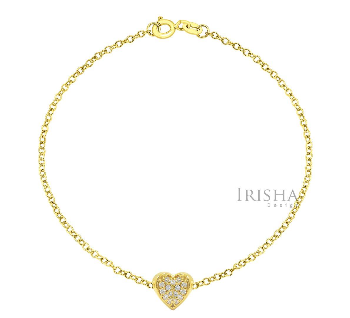 0.10 Ct. Genuine Diamond Love Heart Wedding Bracelet Fine Jewelry 14K Gold