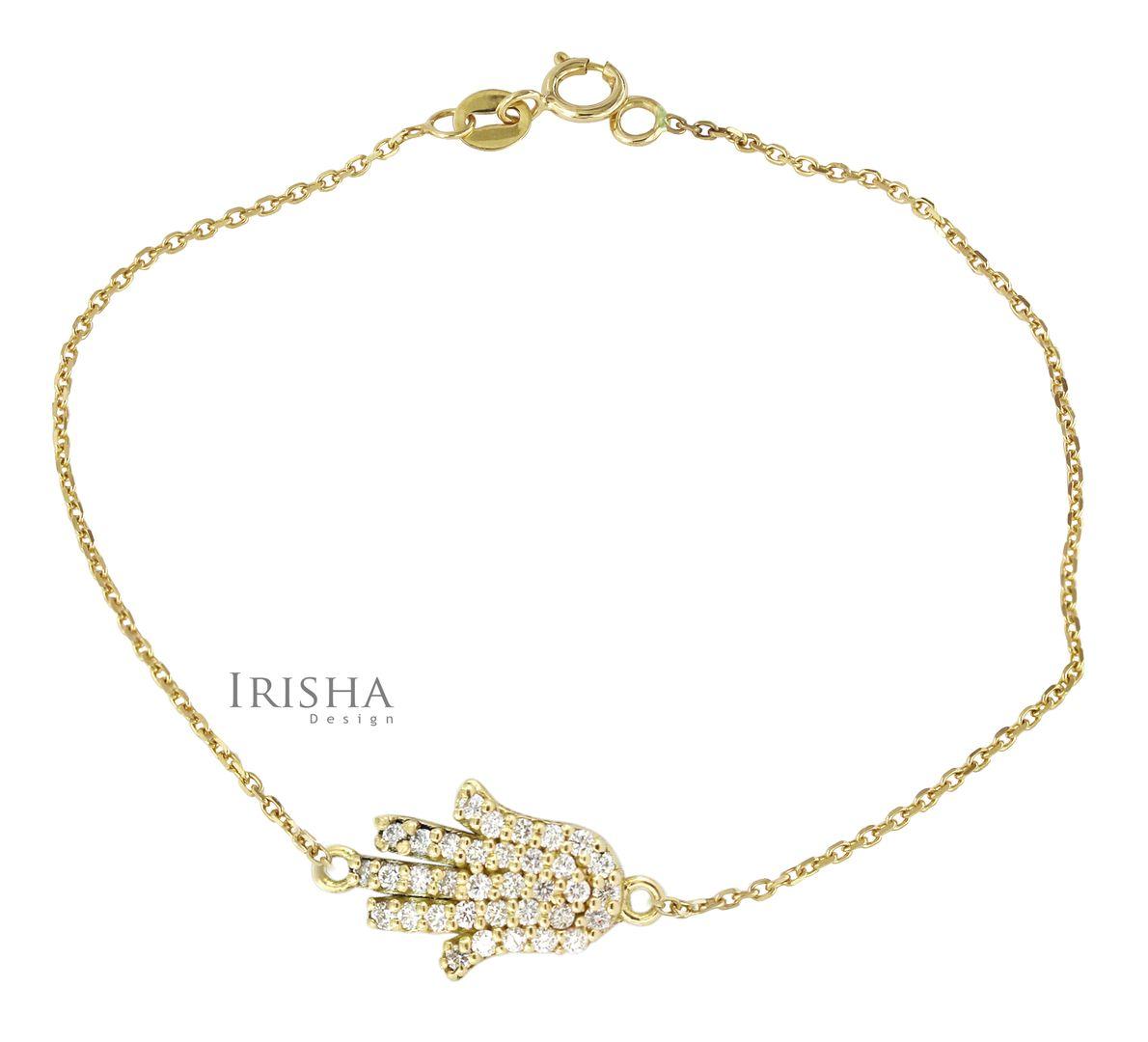 0.16 Ct. Genuine Diamond Hamsa Hand Charm Bracelet Fine Jewelry 14K Gold