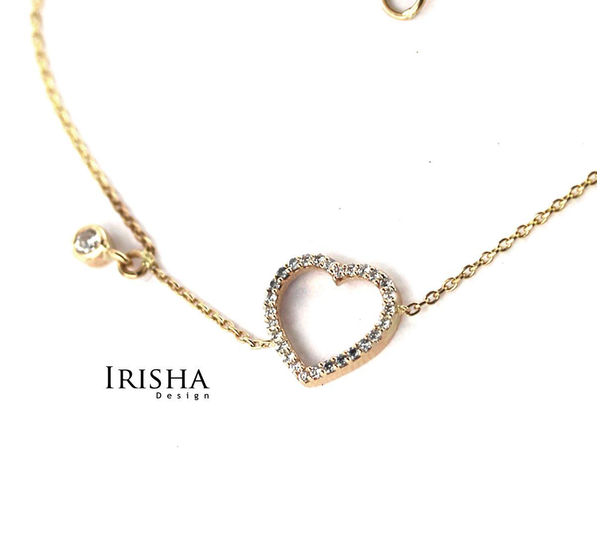 0.17 Ct. Genuine Diamonds VS Clarity Heart Chain Friendship Bracelet 14K Gold