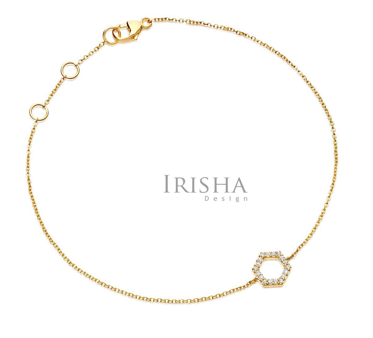 0.09 Ct. Genuine Diamond Honeycomb Charm Chain Bracelet 14K Gold New Arrival