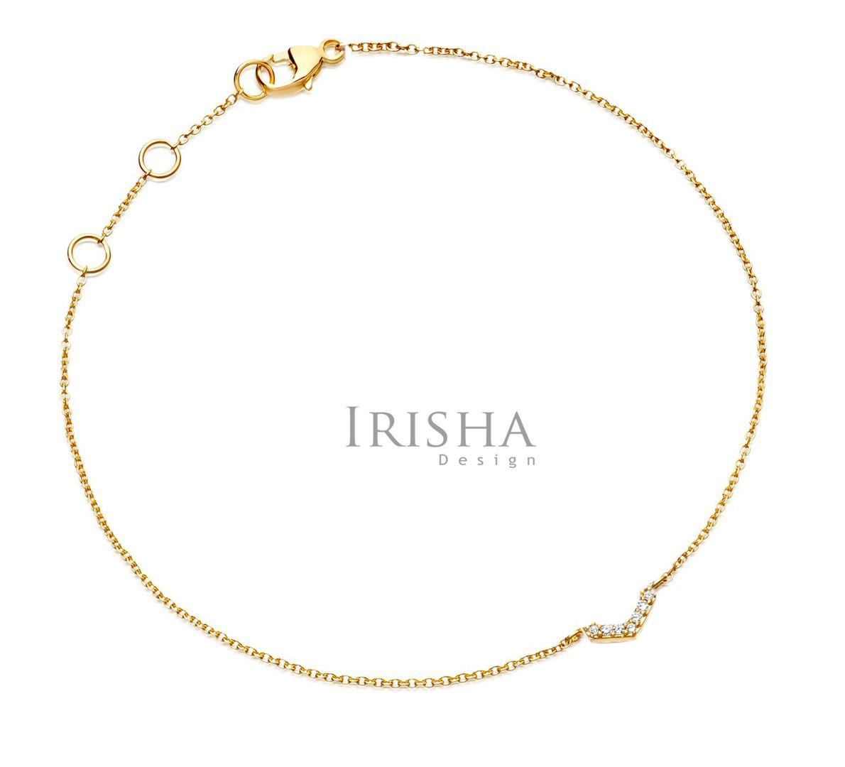 VS Clarity 0.04 Ct. Genuine Diamond Half Honeycomb Chain Bracelet 14K Gold