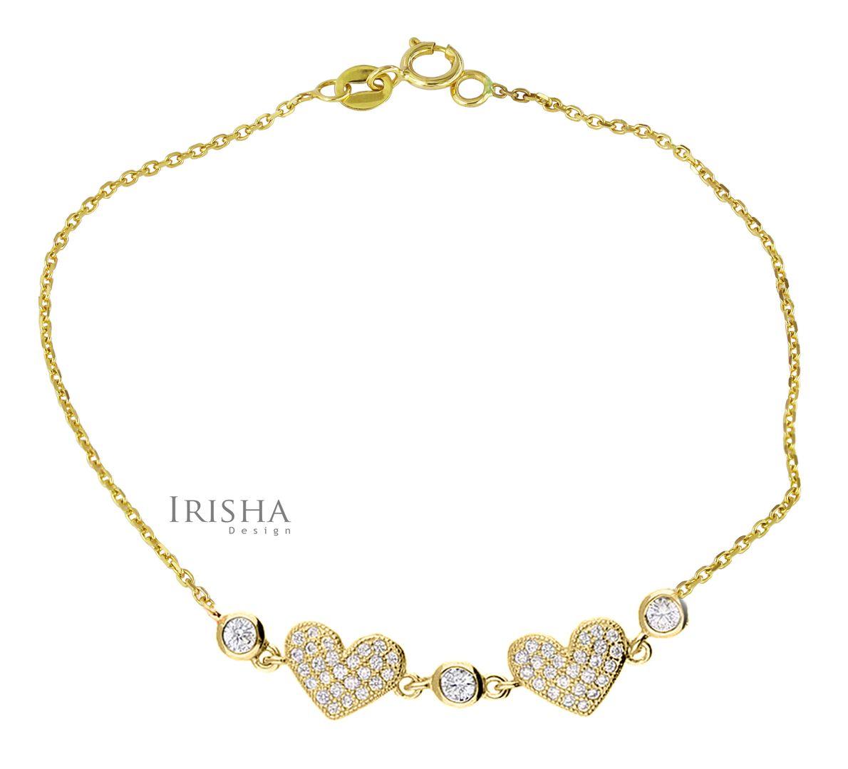 0.40 Ct. Genuine Diamond Double Heart Charm Bracelet Fine Jewelry 14K Gold