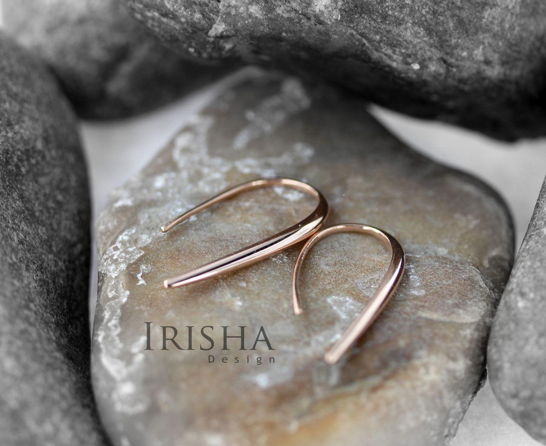 14K Solid Gold 30 mm Long Hook Earrings Wedding Fine Jewelry-New Arrival