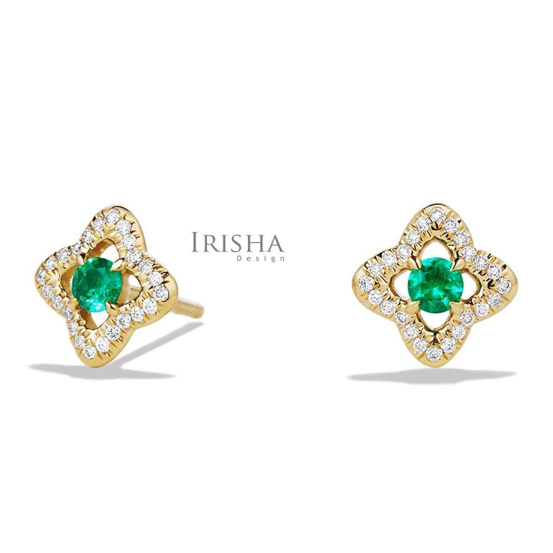 May Birthstone Emerald Genuine Diamond 14K Gold Floral Stud Earring Fine Jewelry