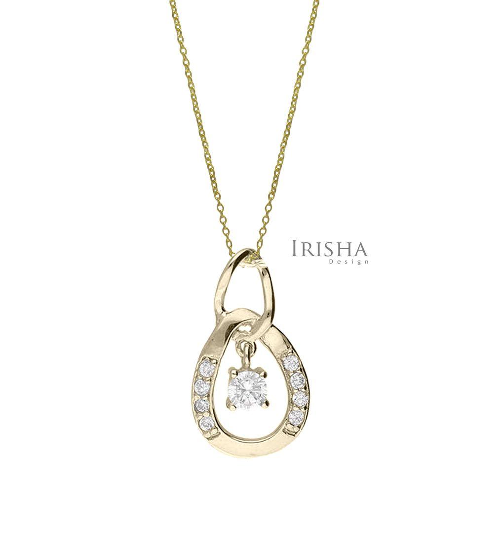 14K Gold 0.10 Ct. Genuine Diamond Minimalist Pendant Necklace Fine Jewelry