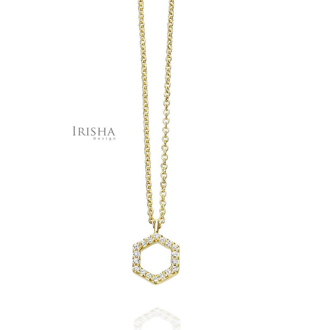 0.09 Ct. Genuine Diamond Honeycomb/Hexagon Charm Necklace 14K Gold Fine Jewelry