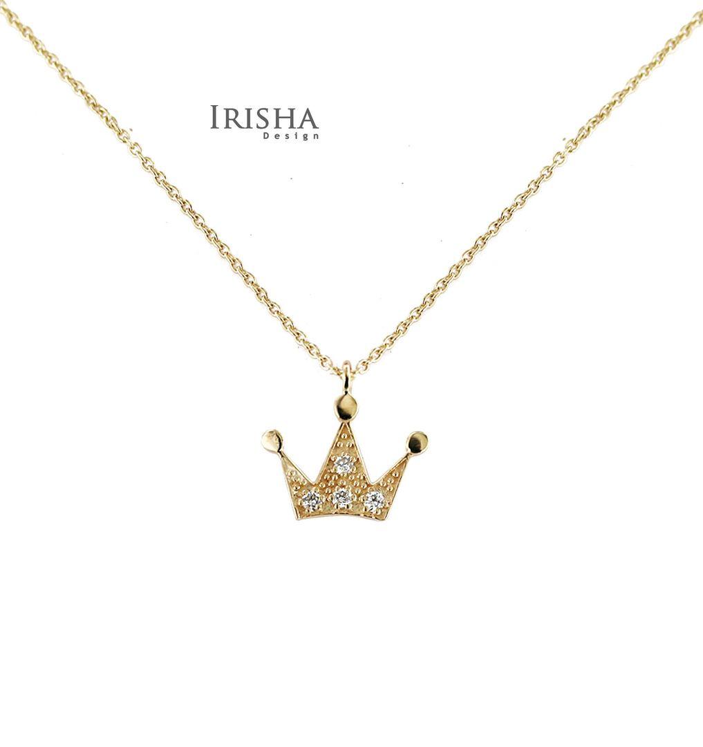 0.06 Ct. Genuine Diamond Crown Charm Pendant Necklace 14K Gold New Jewelry
