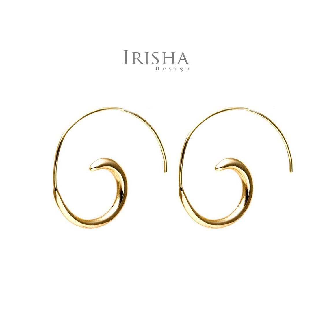 14K Solid Gold Spiral Shape Earrings Fine Jewelry-New Arrival