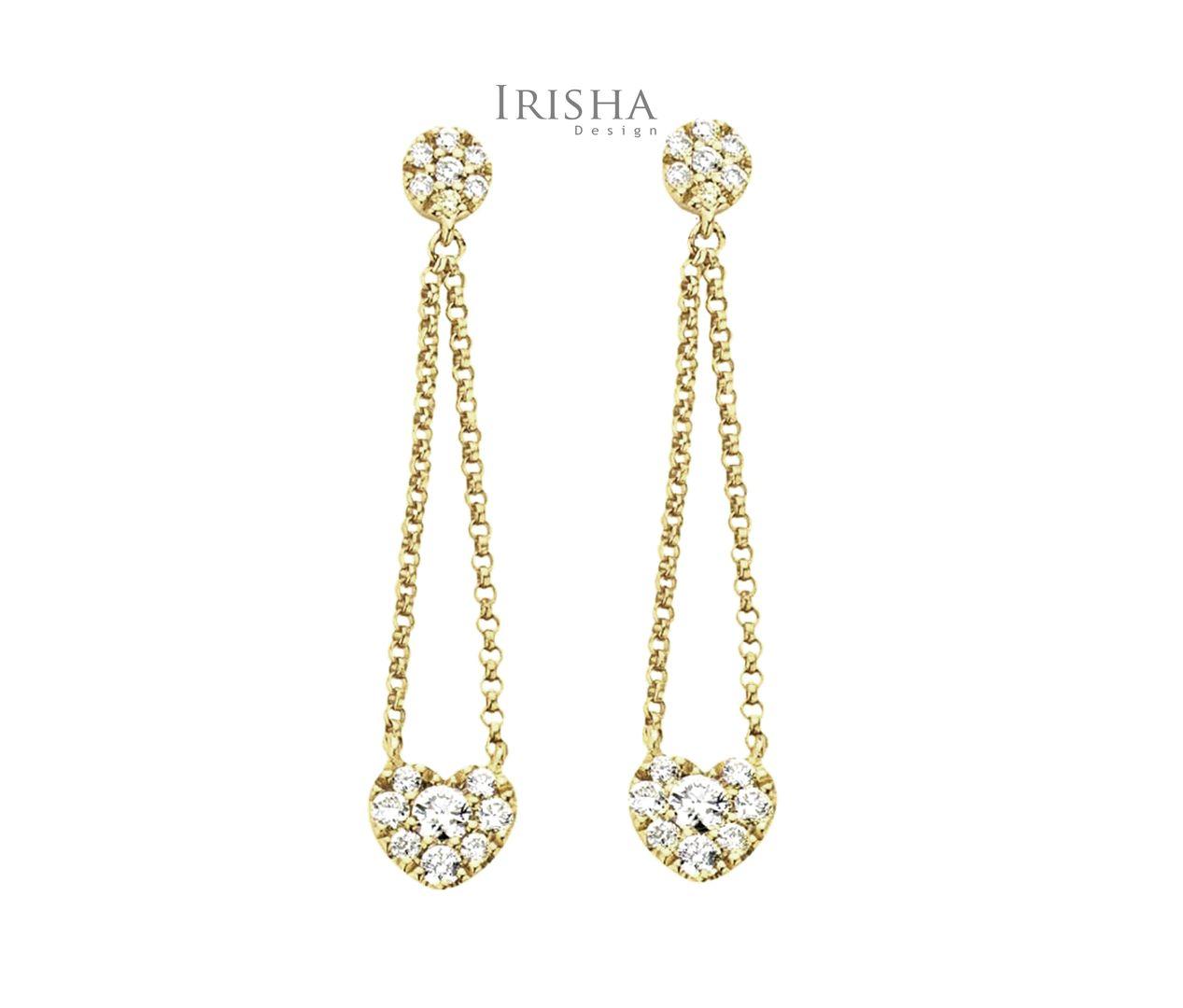 Genuine Pave Diamond Heart Drop Chain Earrings 14K Gold Christmas Gift Jewelry