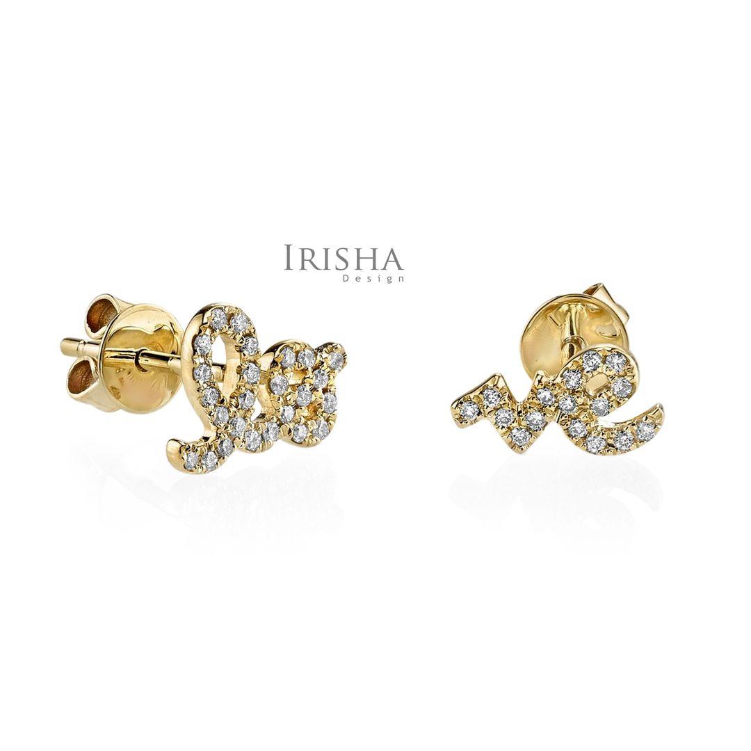 Thanksgiving Gift 14K Gold 0.20 Ct. Genuine Diamond Love Earrings Fine Jewelry
