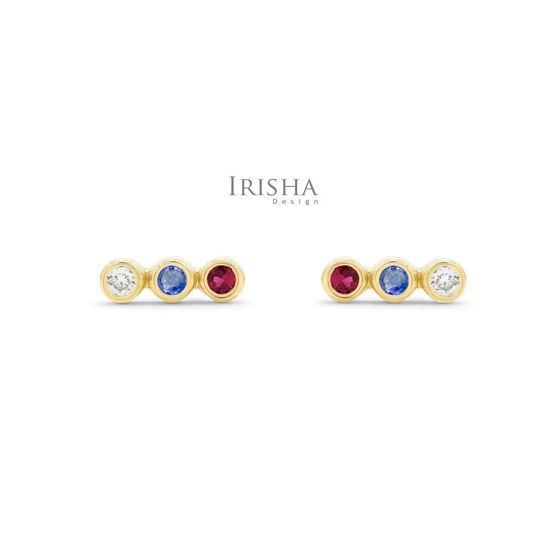Genuine Diamond Ruby Blue Sapphire Three Stone Studs Earrings 14K Solid Gold