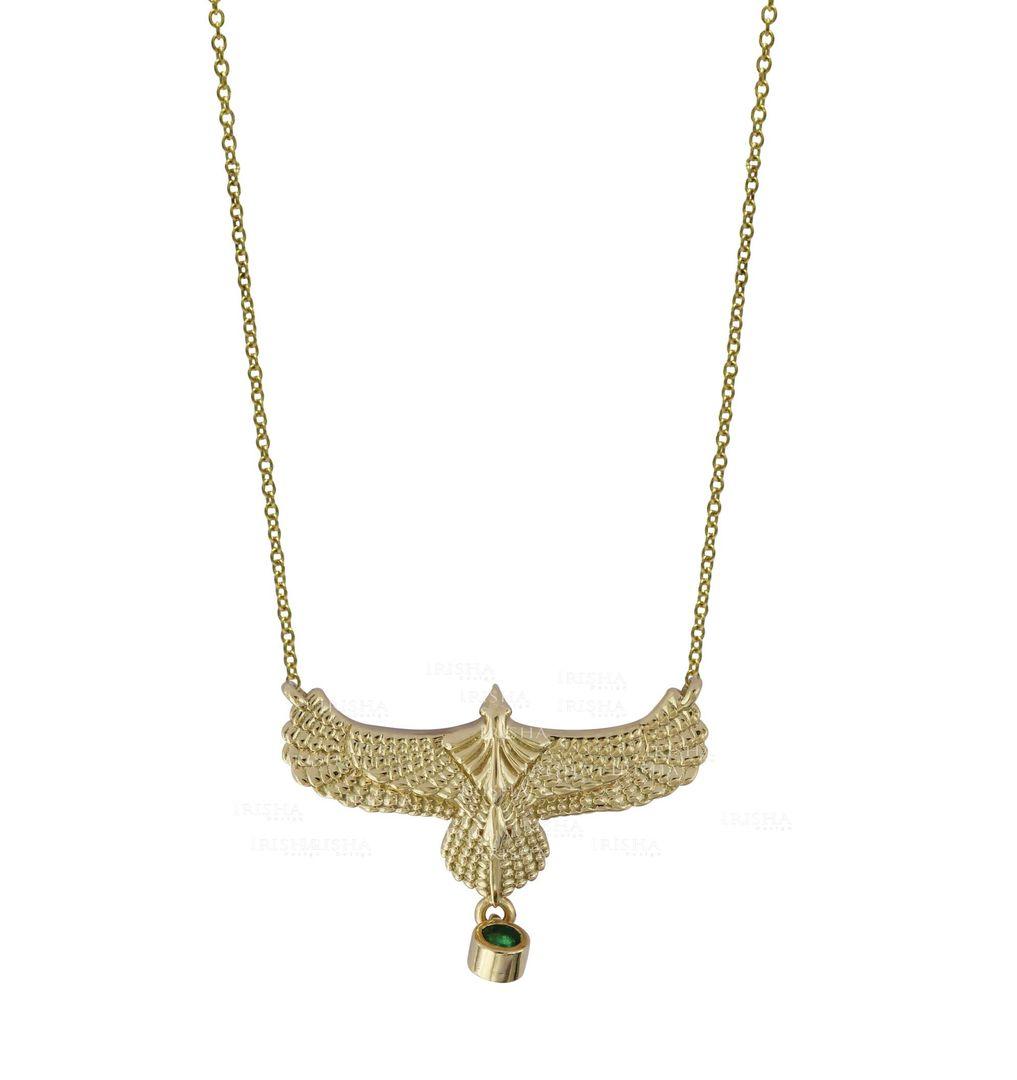 0.10 Ct. Genuine Emerald Gemstone Vintage Eagle Fine Pendant Necklace 14K Gold