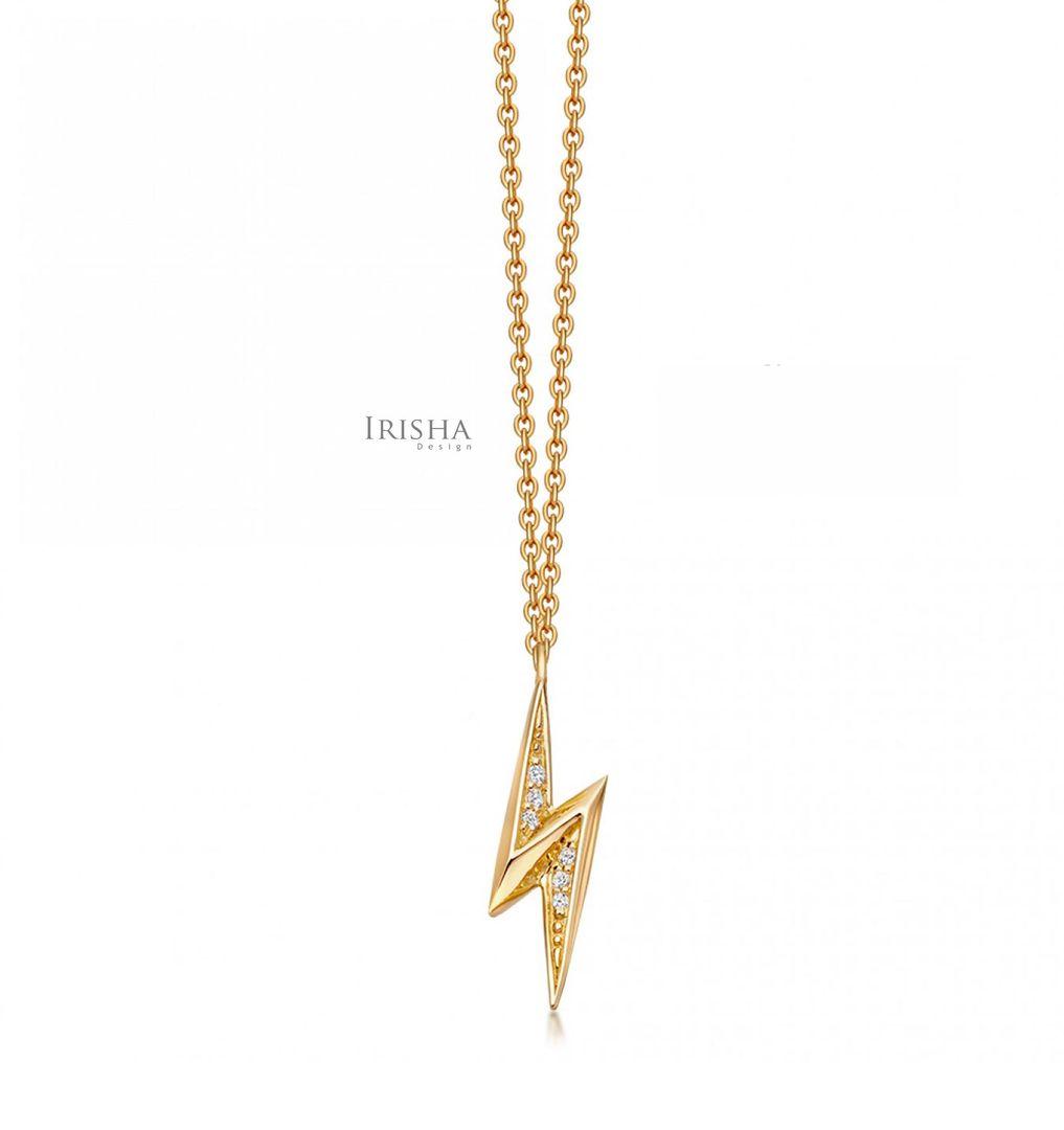 VS Clarity Genuine Diamond Lightning Bolt Pendant Necklace 14K Gold Jewelry