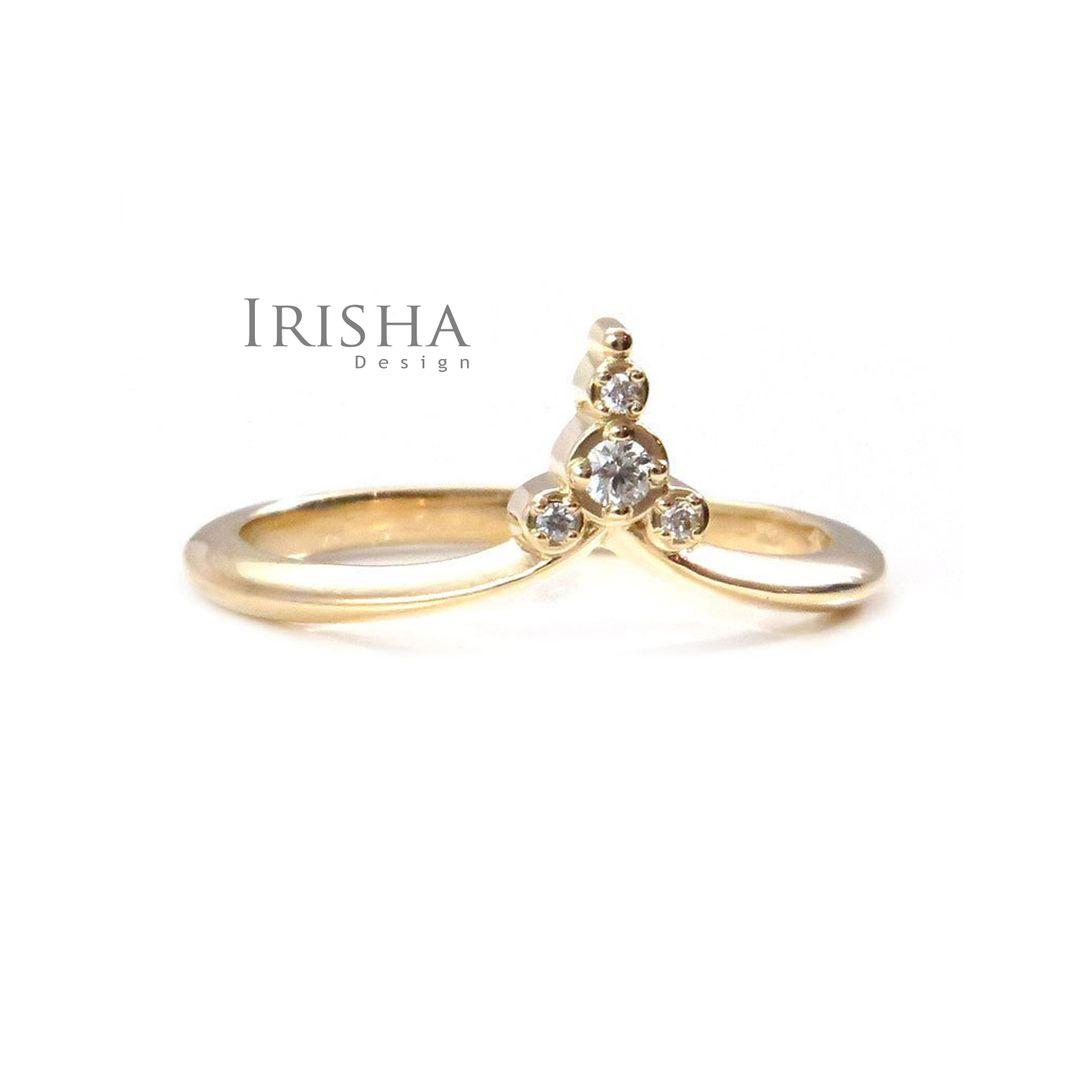 14K Gold 0.06 Ct. Genuine Diamond Unique Crown Design Stacking Ring Jewelry
