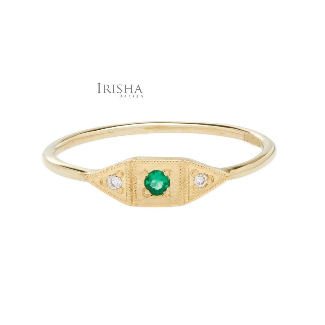 Genuine Diamond And Emerald May Birthstone Baby Deco Ring 14K Gold New Jewelry