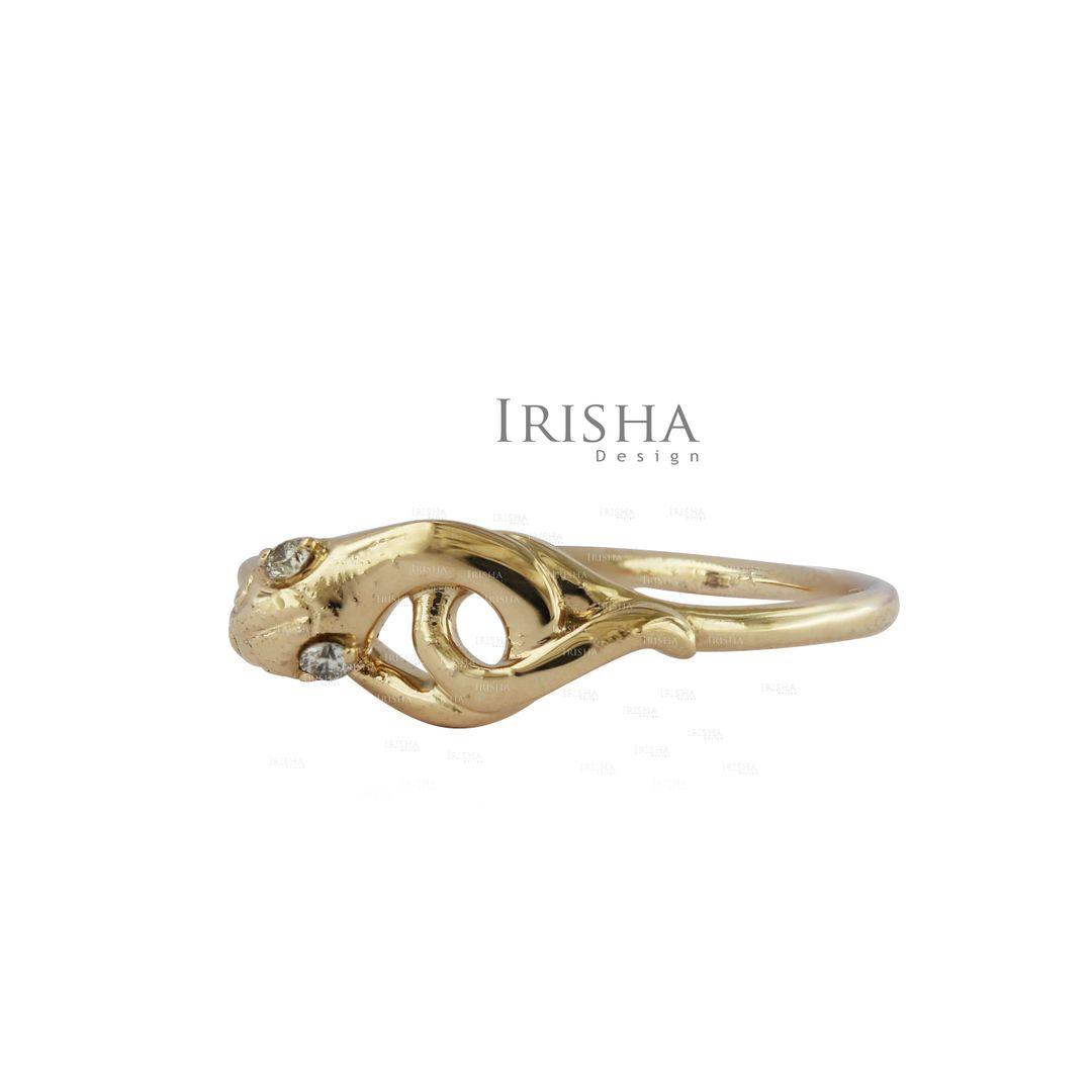 0.02 Ct. Genuine Diamond Serpent Snake Band Ring 14K Gold Fine Jewelry