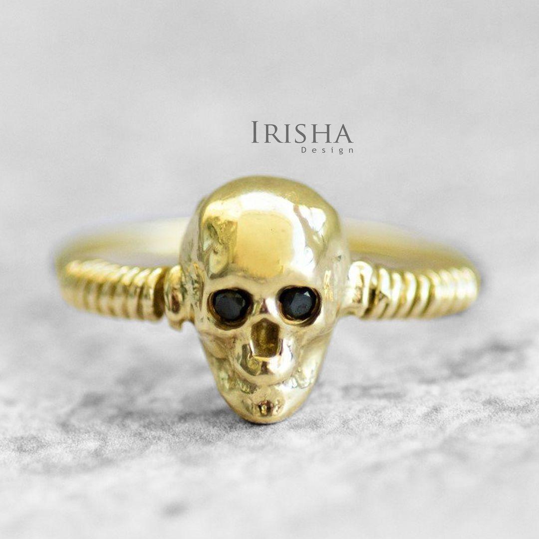 0.03 Ct. Genuine Black Diamond Skull Design Ring 14K Gold Halloween Gift Jewelry