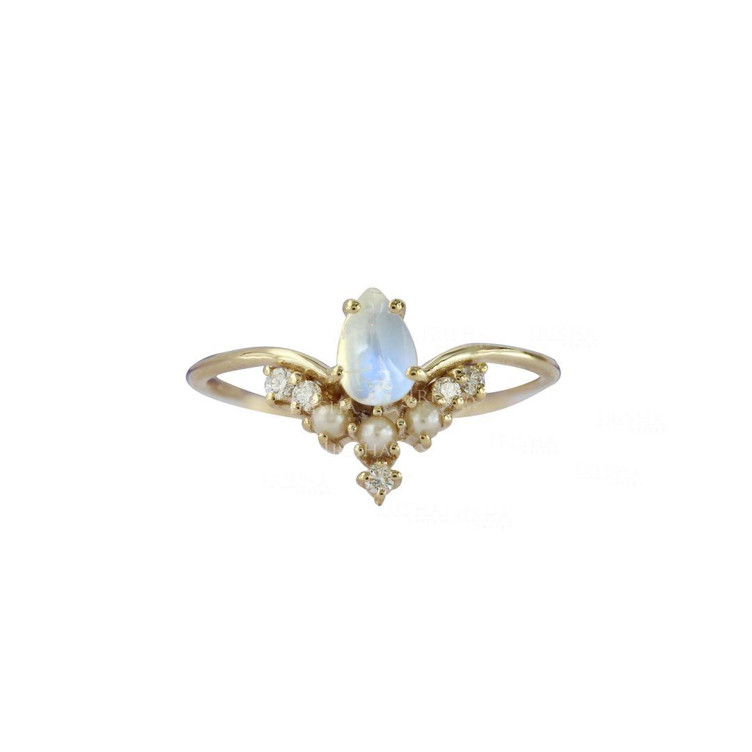 Freshwater Pearl Diamond Rainbow Moonstone 14K Gold Chevron Ring Wedding Gift