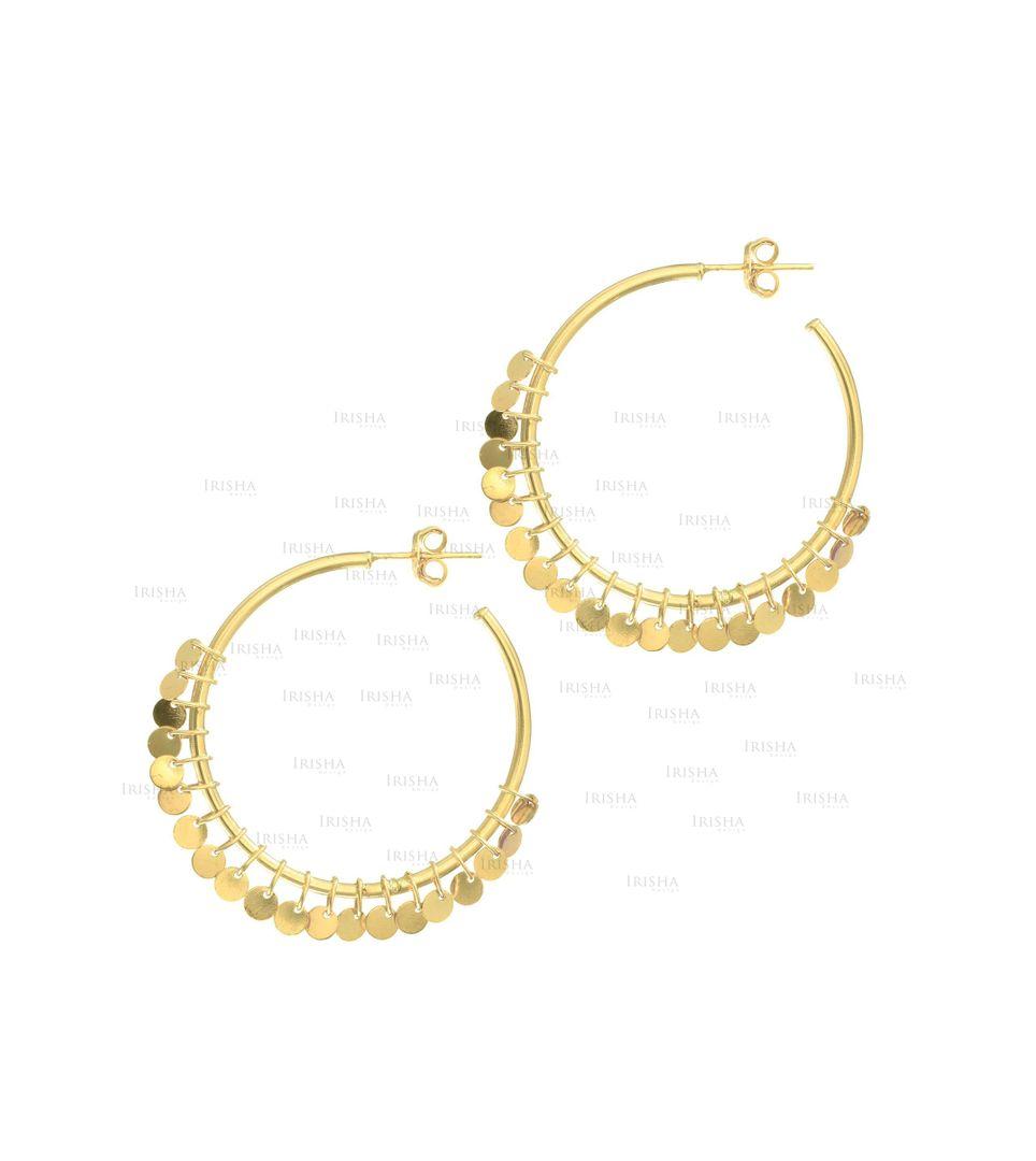 14K Yellow Gold Multi Dangle Disc Round Tube Hoop Type Earrings Fine Jewelry