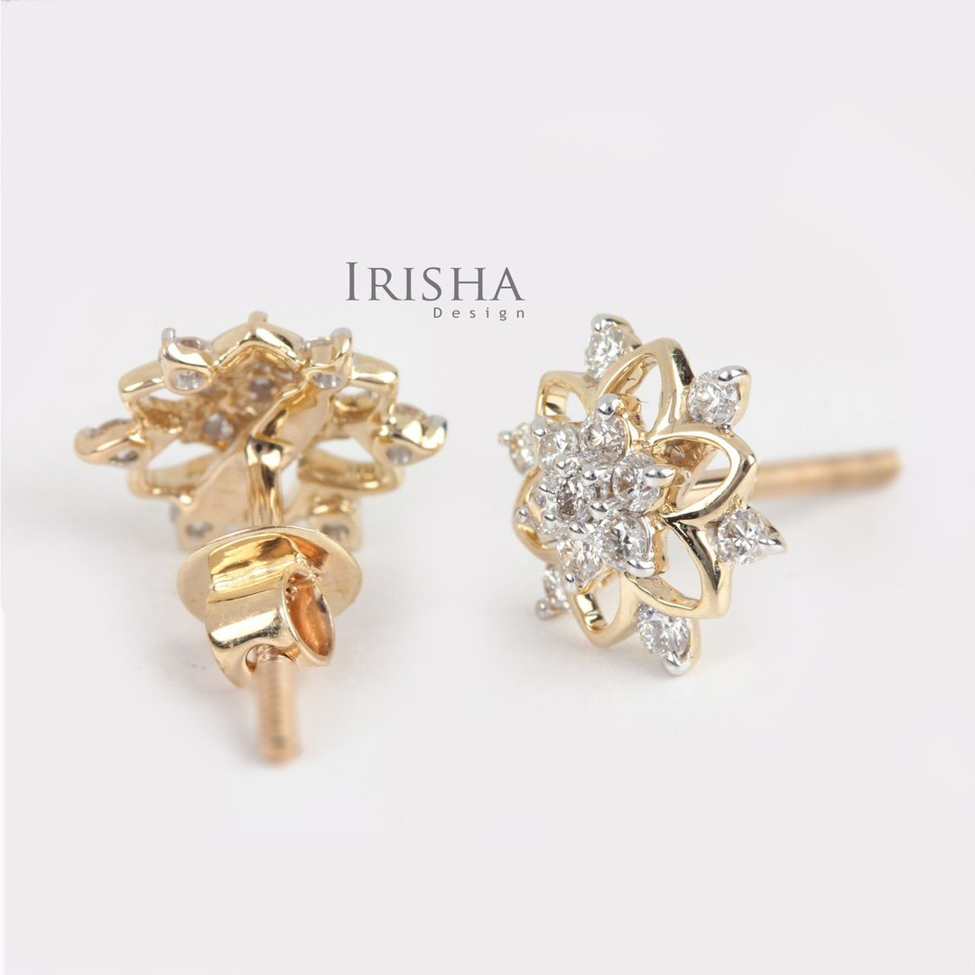 0.26 Ct. Genuine Diamond Flower Studs Earrings Wedding Gift For Her 14K Gold