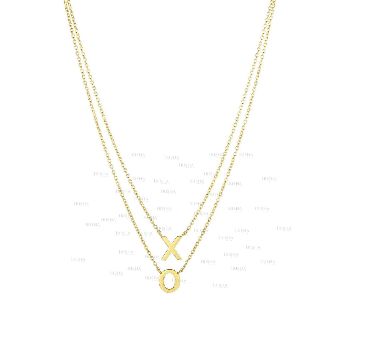 """14K Yellow Gold 17"""" Shiny """"XO"""" On Single Into Double Strand Oval Link Necklace"""