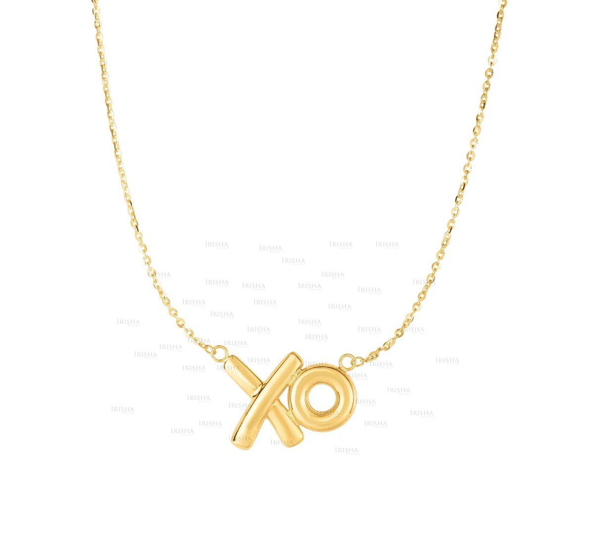 14K Yellow Gold 20x13mm Shiny XO Charm Necklace with 18'' Chain Fine Jewelry