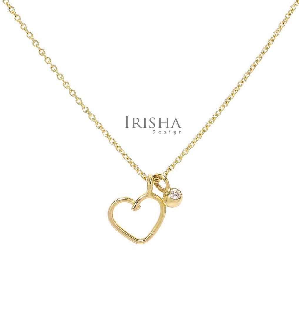 0.03 Ct. Genuine Dangle Diamond Mini Heart Charm Fine Pendant Necklace 14K Gold