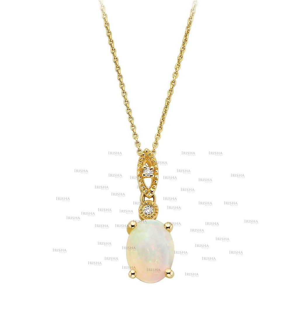 14K Gold Genuine Diamond And Opal Gemstone Evil Eye Pendant Necklace