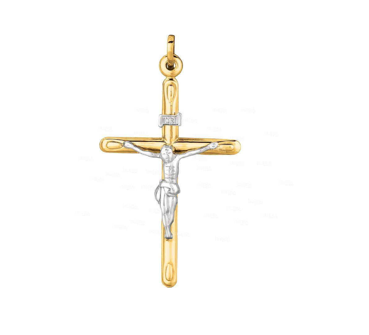 14K Yellow+White Gold Shiny Cross with White Figurine Pendant Christmas Jewelry