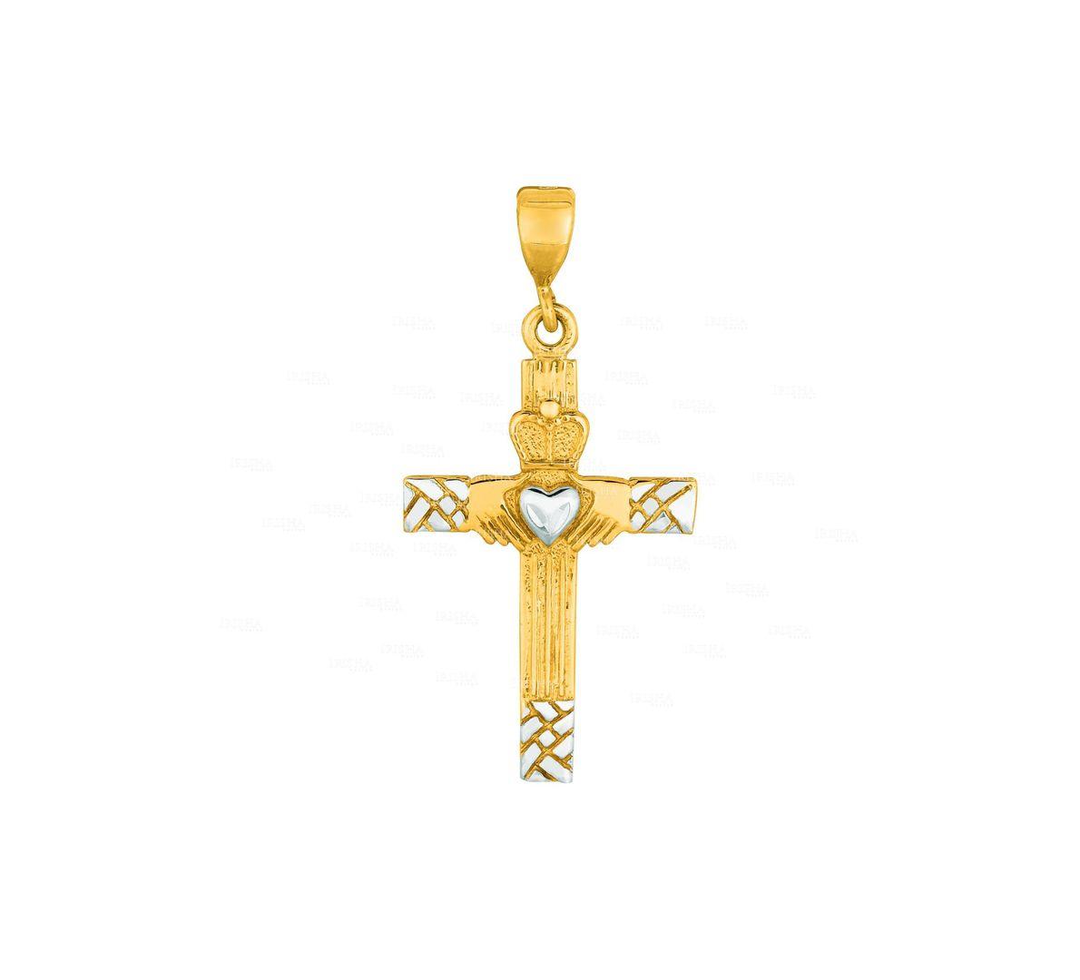 14K Yellow+White Gold Shiny Diamond Cut Claddagh Cross Pendant Christmas Jewelry