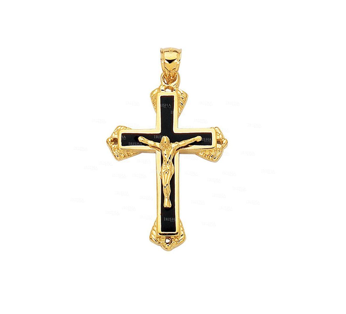 14K Yellow Gold Shiny Textured Fancy Black Cross with Figurine ChristmasPendant