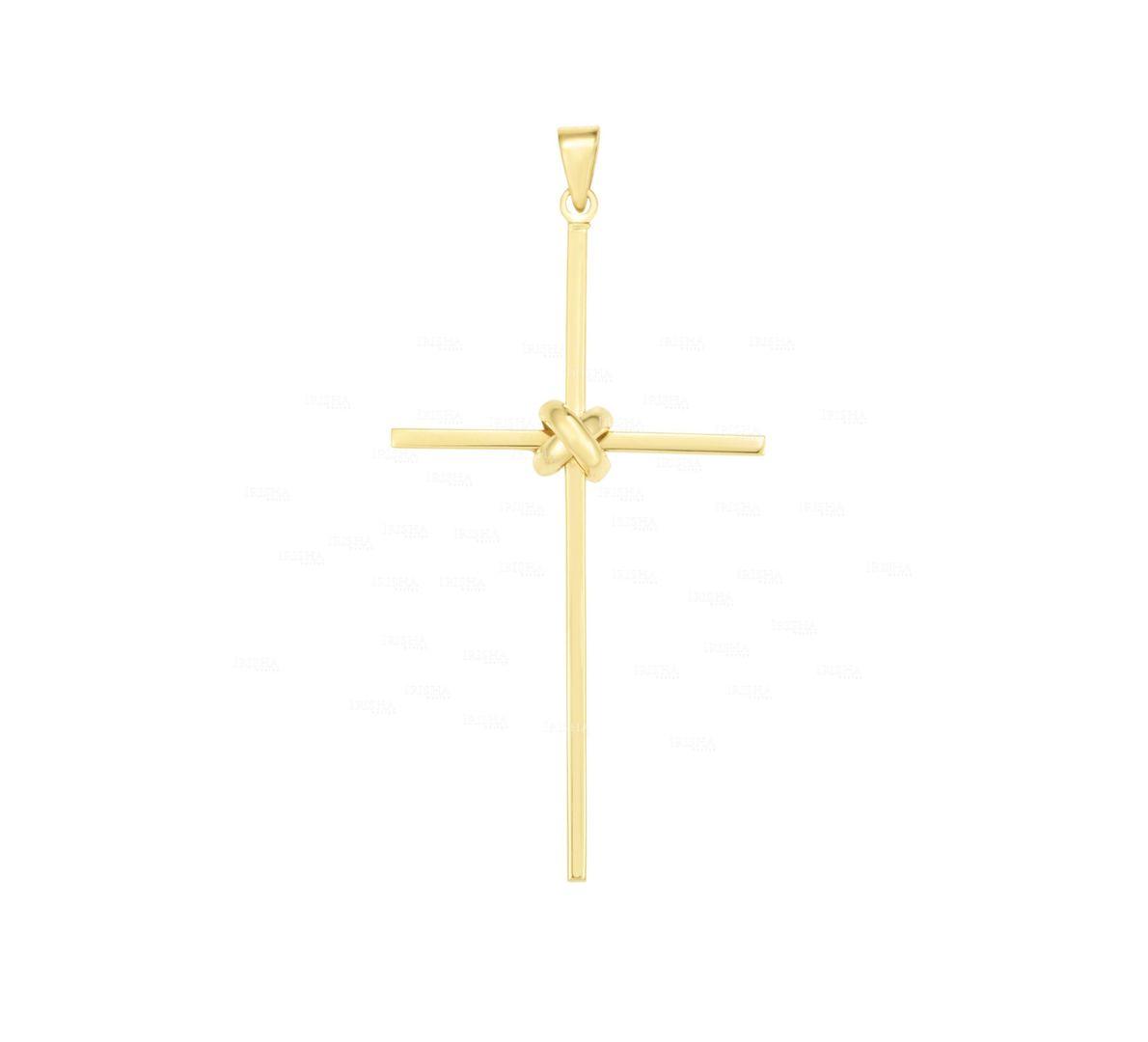 14K Solid Yellow Gold Knot Cross Jesus Piece Pendant Christmas Gift Fine Jewelry