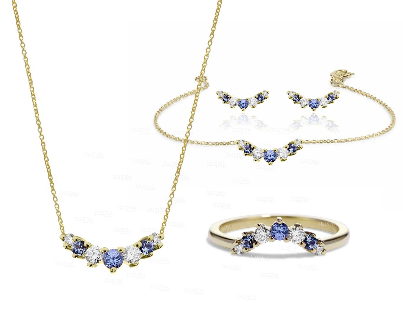 Genuine Diamond Blue Sapphire Curved Ring Earring Bracelet Necklace 14K Gold Set